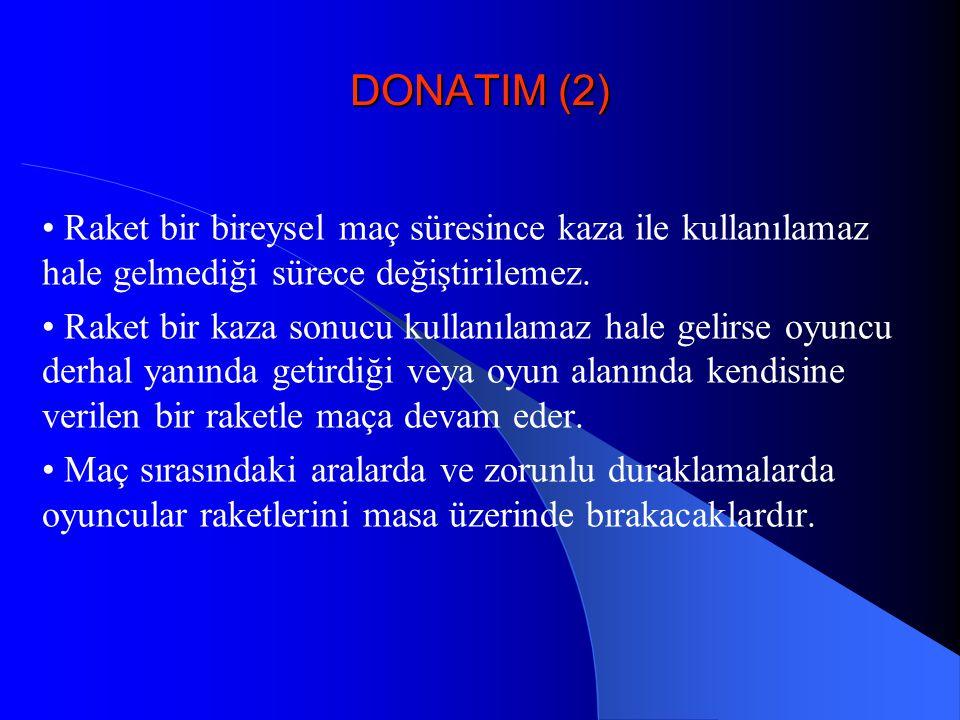 DONATIM (2) • Raket bir bireysel maç süresince kaza ile kullanılamaz hale gelmediği sürece değiştirilemez.