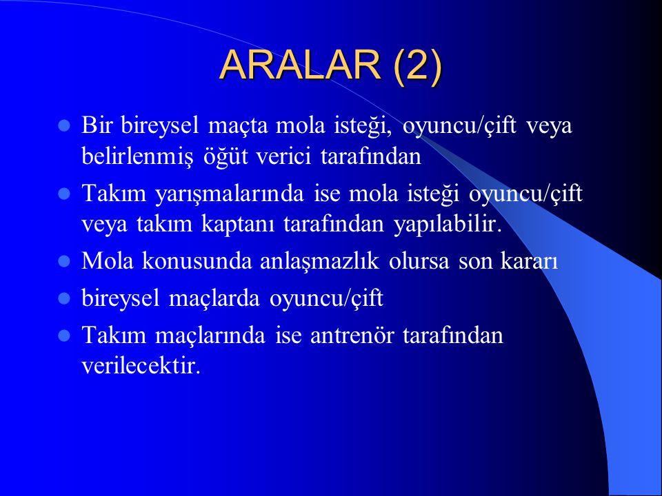 ARALAR (2) Bir bireysel maçta mola isteği, oyuncu/çift veya belirlenmiş öğüt verici tarafından.