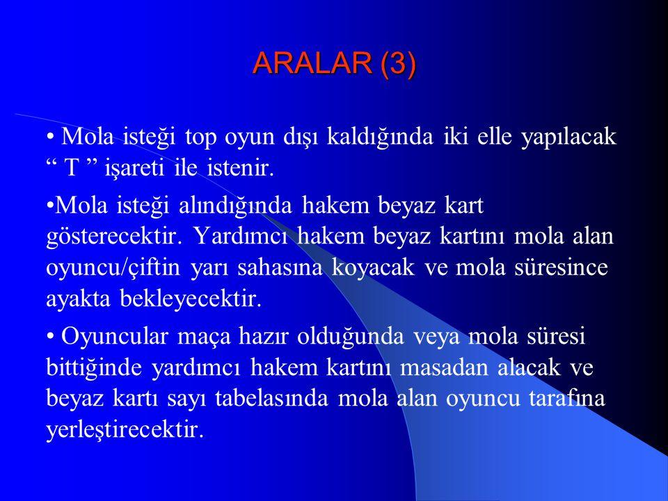 ARALAR (3) • Mola isteği top oyun dışı kaldığında iki elle yapılacak T işareti ile istenir.