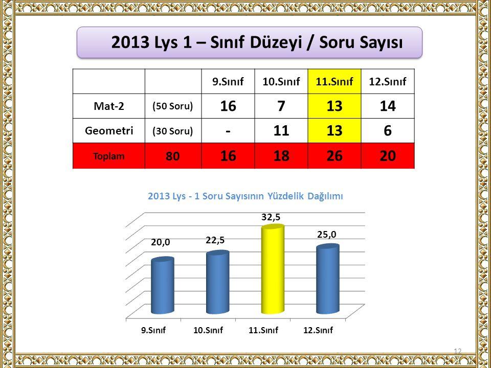 2013 Lys 1 – Sınıf Düzeyi / Soru Sayısı