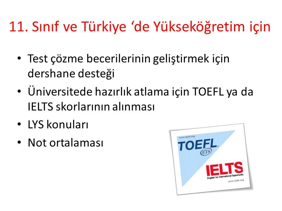11. Sınıf ve Türkiye 'de Yükseköğretim için