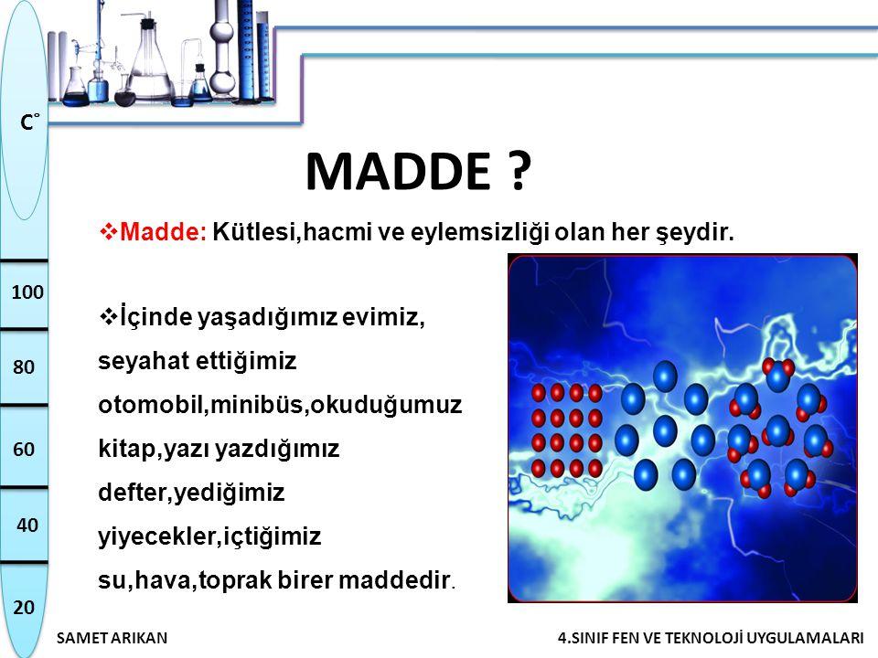 MADDE Madde: Kütlesi,hacmi ve eylemsizliği olan her şeydir.
