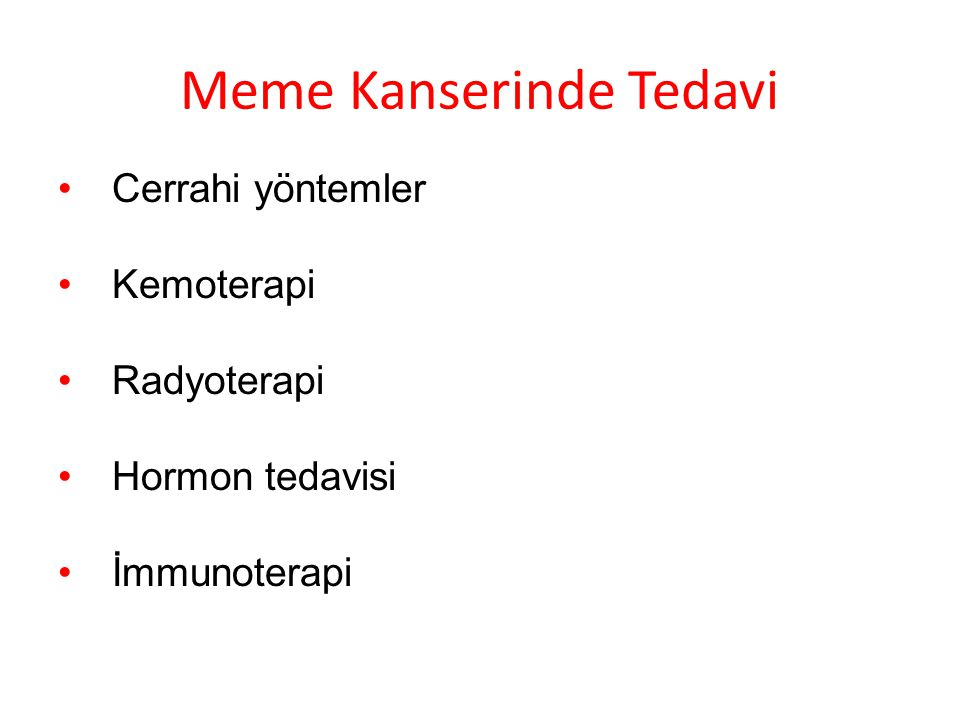 Meme Kanserinde Tedavi