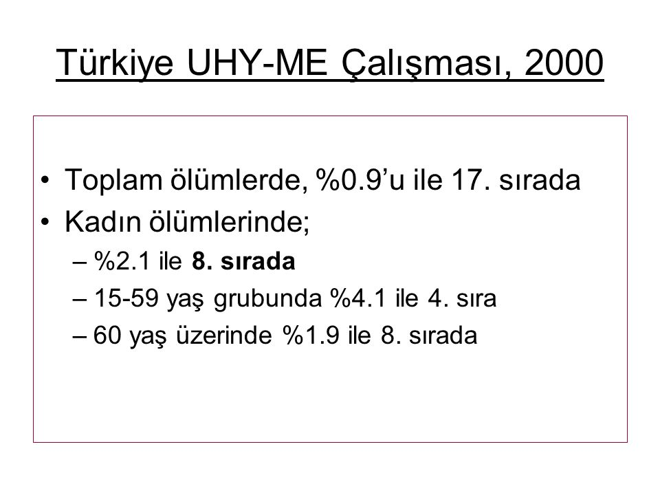 Türkiye UHY-ME Çalışması, 2000