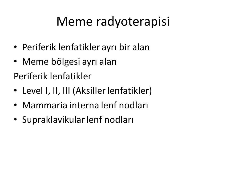 Meme radyoterapisi Periferik lenfatikler ayrı bir alan
