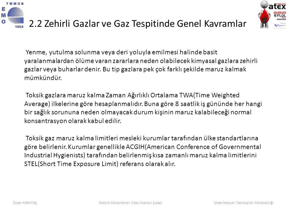 2.2 Zehirli Gazlar ve Gaz Tespitinde Genel Kavramlar