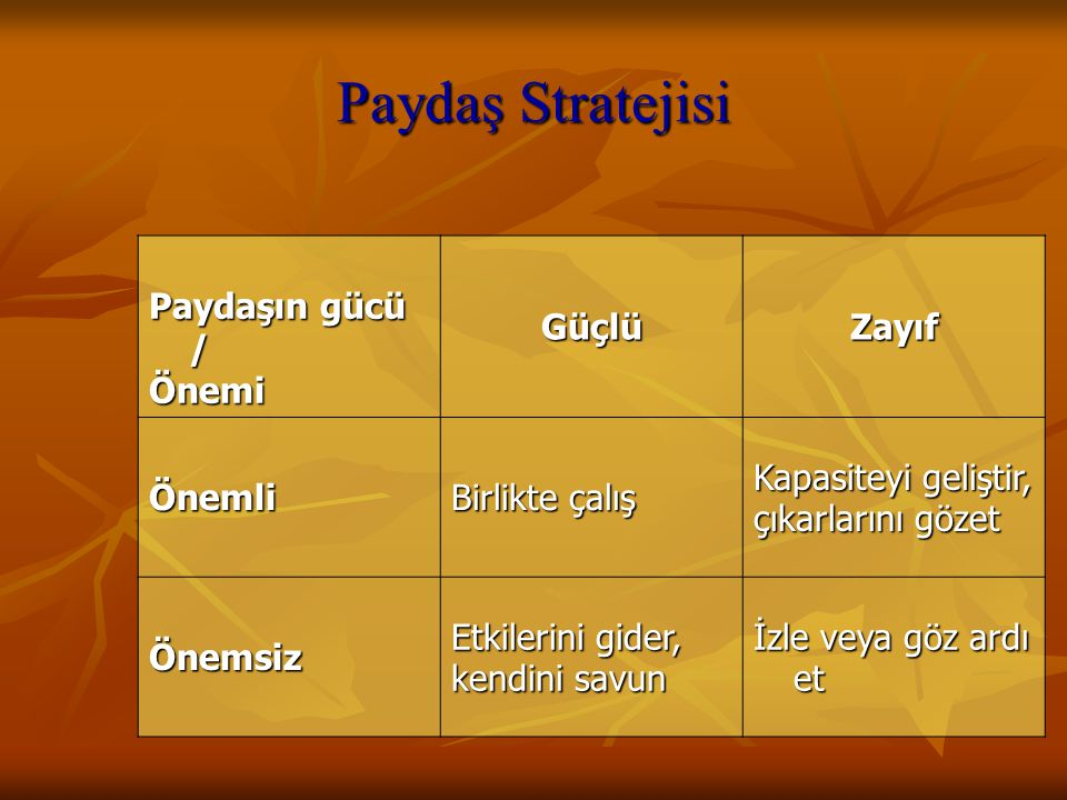 Paydaş Stratejisi Paydaşın gücü / Önemi Güçlü Zayıf Önemli