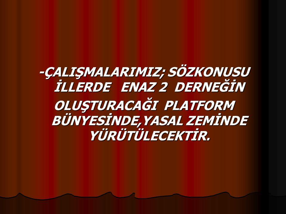 -ÇALIŞMALARIMIZ; SÖZKONUSU İLLERDE ENAZ 2 DERNEĞİN