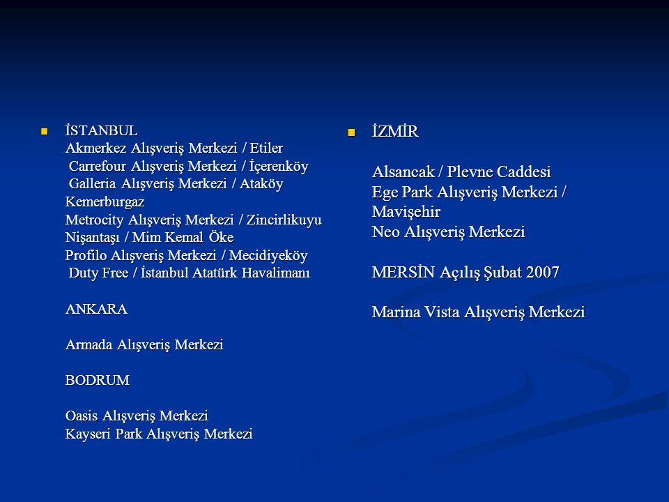 İSTANBUL Akmerkez Alışveriş Merkezi / Etiler Carrefour Alışveriş Merkezi / İçerenköy Galleria Alışveriş Merkezi / Ataköy Kemerburgaz Metrocity Alışveriş Merkezi / Zincirlikuyu Nişantaşı / Mim Kemal Öke Profilo Alışveriş Merkezi / Mecidiyeköy Duty Free / İstanbul Atatürk Havalimanı ANKARA Armada Alışveriş Merkezi BODRUM Oasis Alışveriş Merkezi Kayseri Park Alışveriş Merkezi