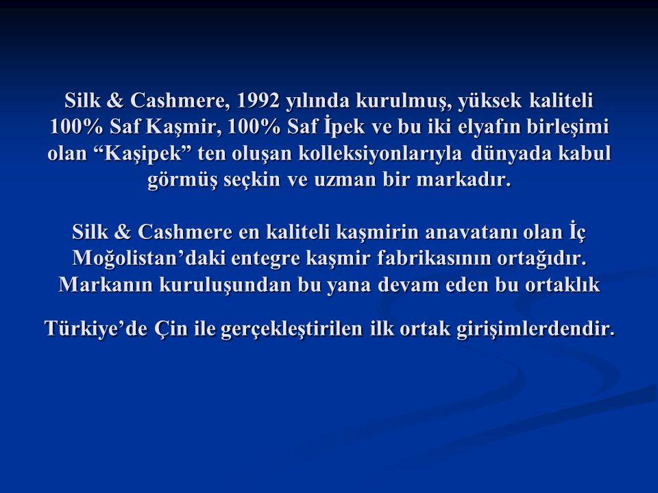 Silk & Cashmere, 1992 yılında kurulmuş, yüksek kaliteli 100% Saf Kaşmir, 100% Saf İpek ve bu iki elyafın birleşimi olan Kaşipek ten oluşan kolleksiyonlarıyla dünyada kabul görmüş seçkin ve uzman bir markadır.