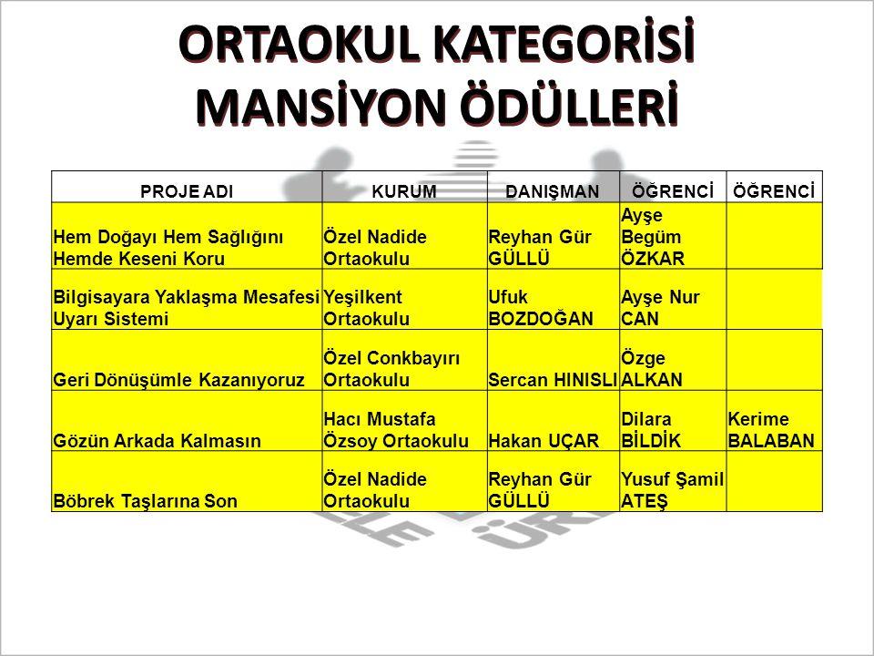 ORTAOKUL KATEGORİSİ MANSİYON ÖDÜLLERİ