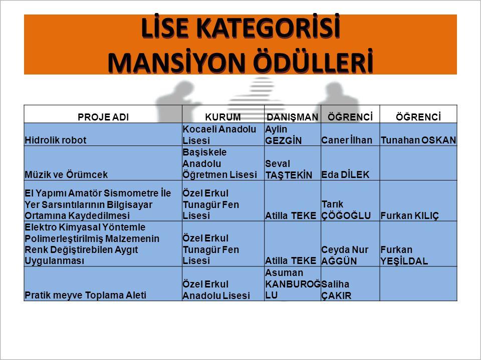 LİSE KATEGORİSİ MANSİYON ÖDÜLLERİ