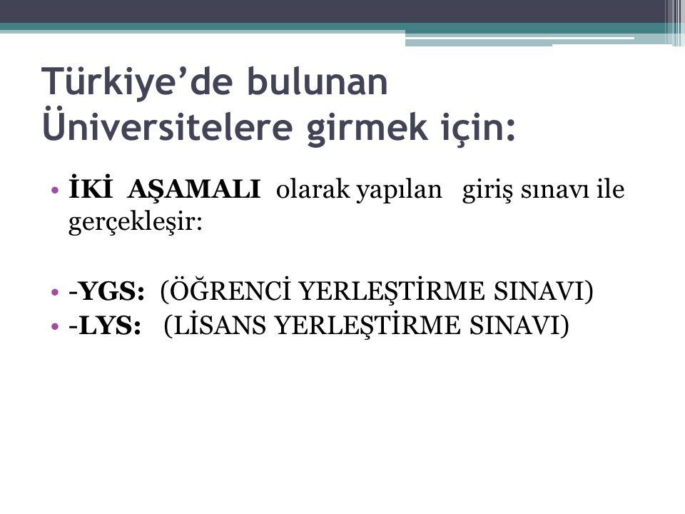Türkiye'de bulunan Üniversitelere girmek için: