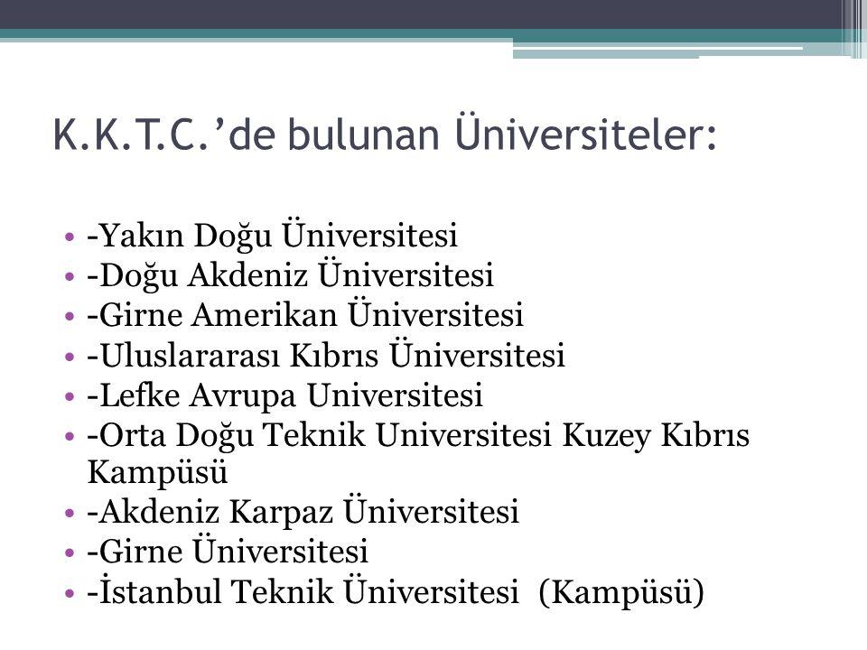 K.K.T.C.'de bulunan Üniversiteler: