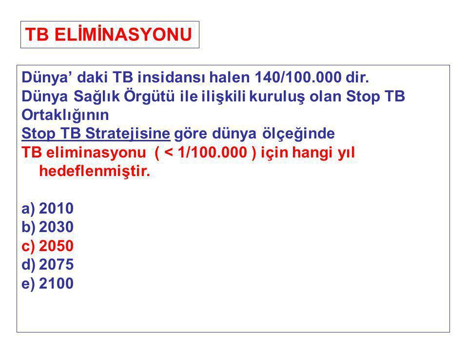 TB ELİMİNASYONU Dünya' daki TB insidansı halen 140/100.000 dir.