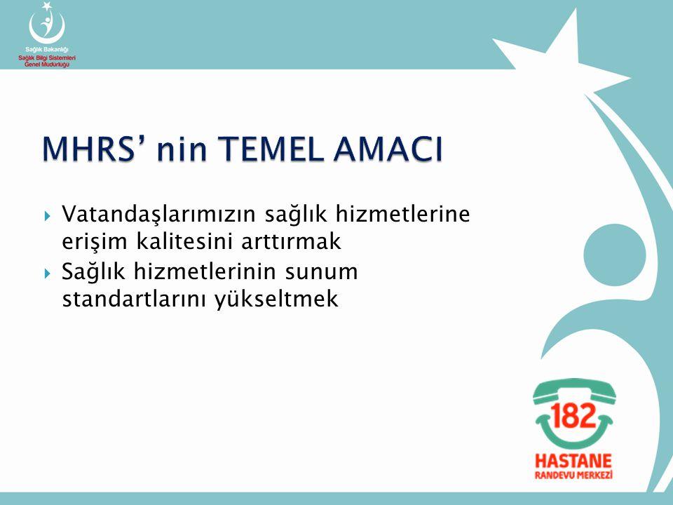 MHRS' nin TEMEL AMACI Vatandaşlarımızın sağlık hizmetlerine erişim kalitesini arttırmak.