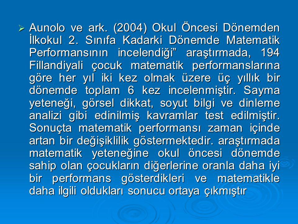 Aunolo ve ark. (2004) Okul Öncesi Dönemden İlkokul 2