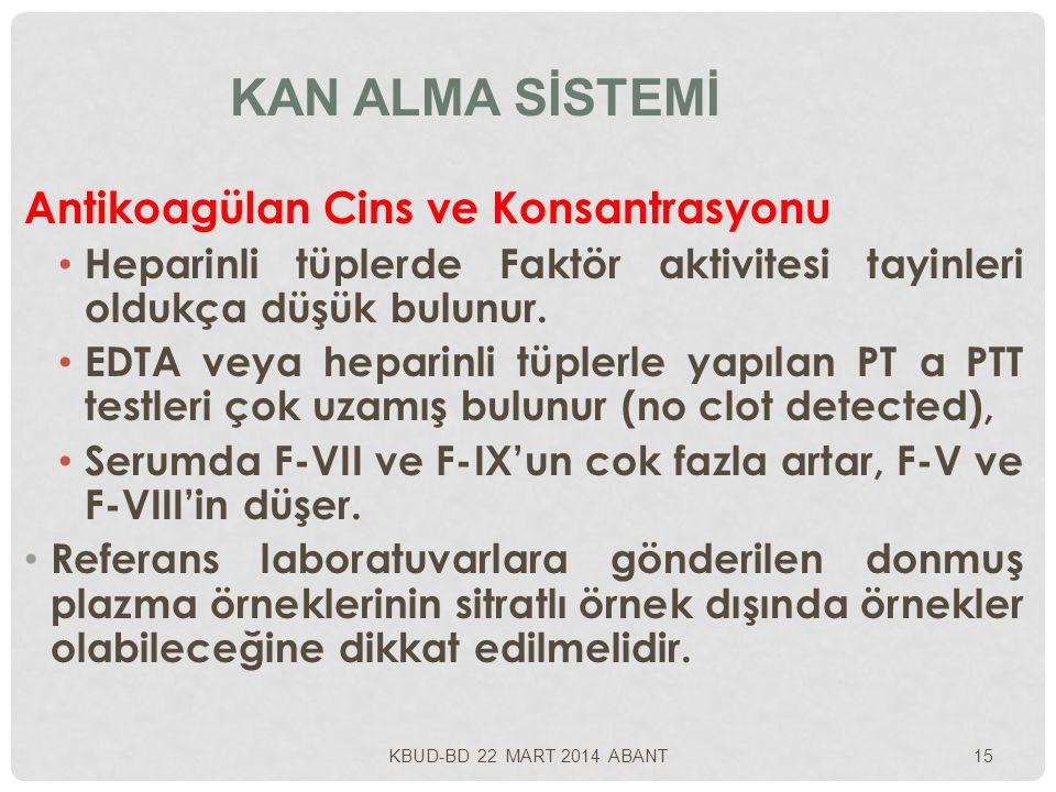 Kan Alma Sİstemİ Antikoagülan Cins ve Konsantrasyonu