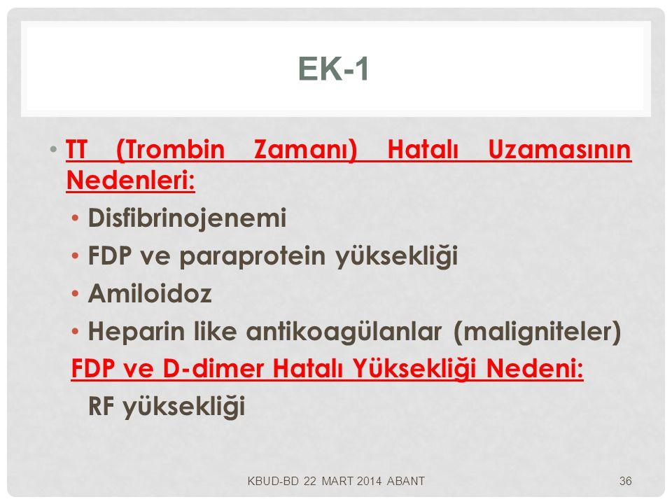 EK-1 TT (Trombin Zamanı) Hatalı Uzamasının Nedenleri: Disfibrinojenemi