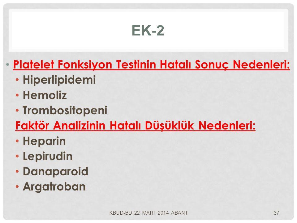 EK-2 Platelet Fonksiyon Testinin Hatalı Sonuç Nedenleri: Hiperlipidemi