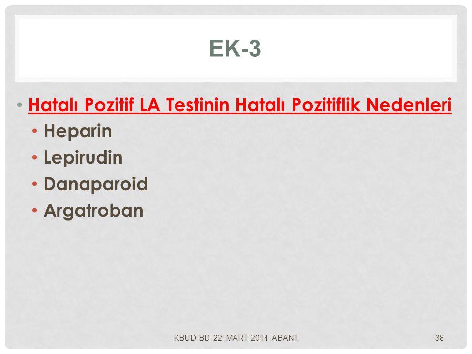 EK-3 Hatalı Pozitif LA Testinin Hatalı Pozitiflik Nedenleri Heparin