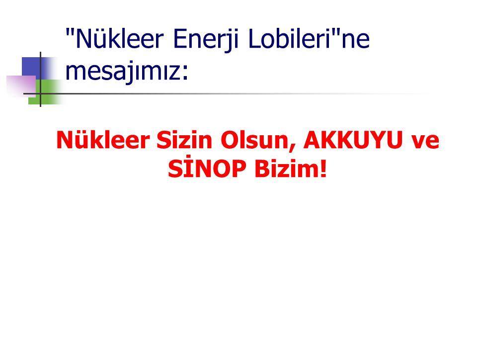 Nükleer Enerji Lobileri ne mesajımız: