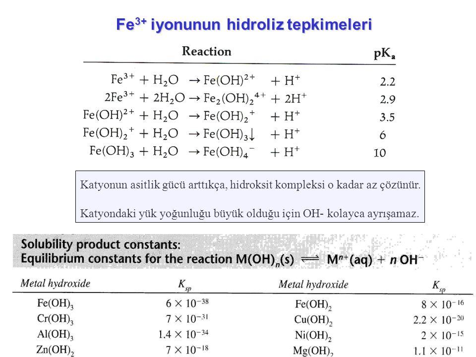 Fe3+ iyonunun hidroliz tepkimeleri