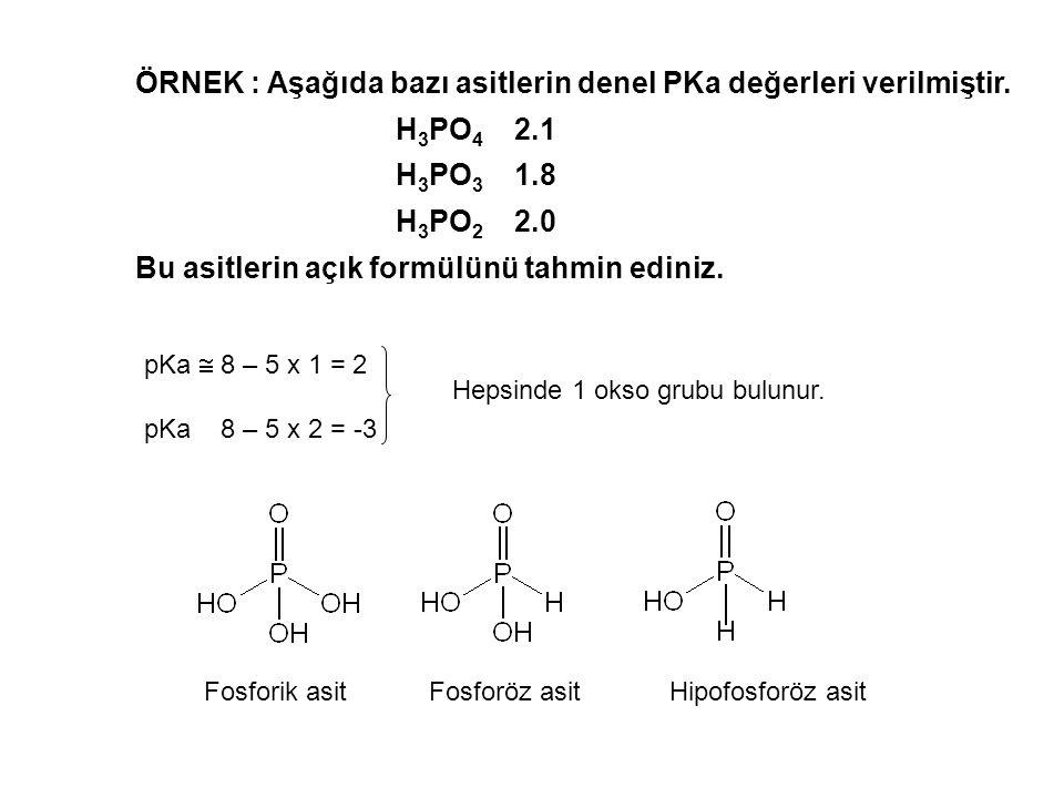ÖRNEK : Aşağıda bazı asitlerin denel PKa değerleri verilmiştir.