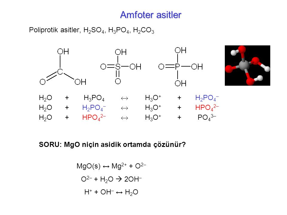Amfoter asitler Poliprotik asitler, H2SO4, H3PO4, H2CO3 H2O + H3PO4 