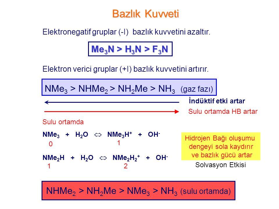 Bazlık Kuvveti Me3N > H3N > F3N