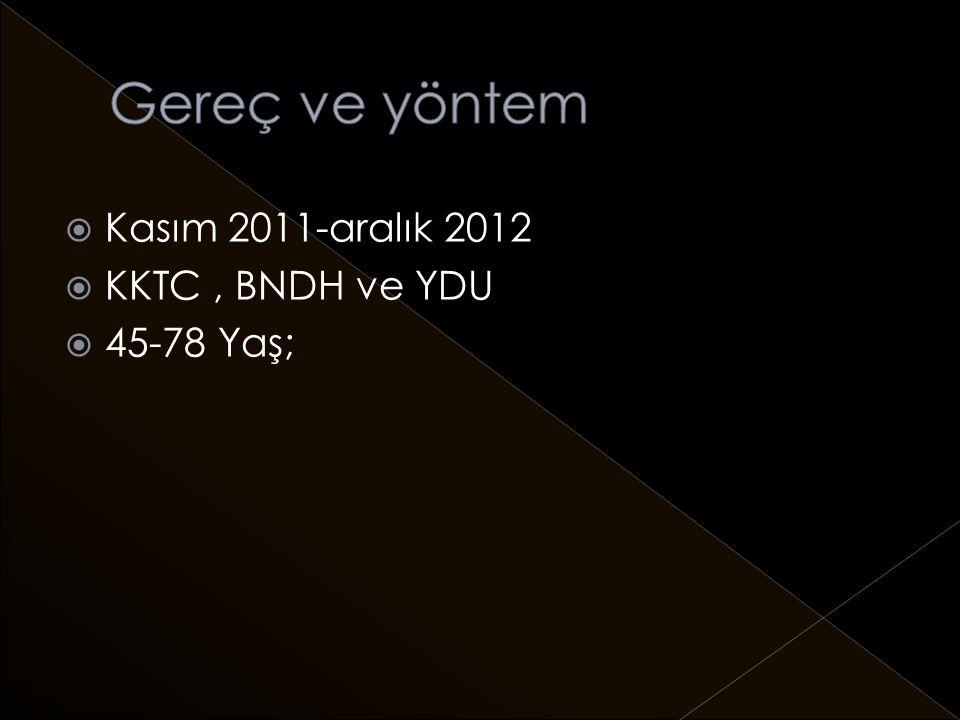 Gereç ve yöntem Kasım 2011-aralık 2012 KKTC , BNDH ve YDU 45-78 Yaş;