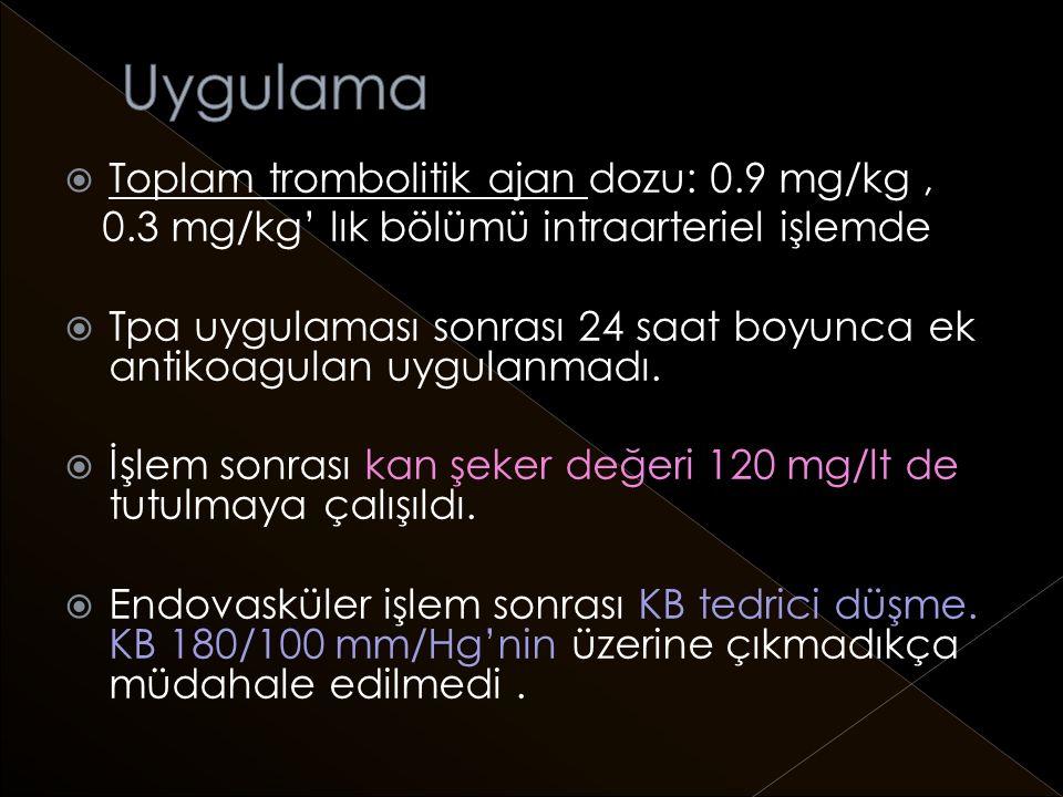 Uygulama Toplam trombolitik ajan dozu: 0.9 mg/kg ,