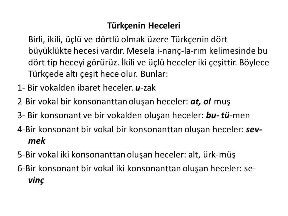 Türkçenin Heceleri Birli, ikili, üçlü ve dörtlü olmak üzere Türkçenin dört büyüklükte hecesi vardır.