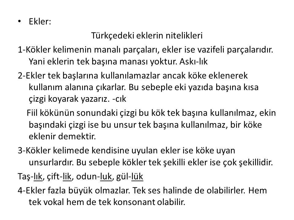 Türkçedeki eklerin nitelikleri