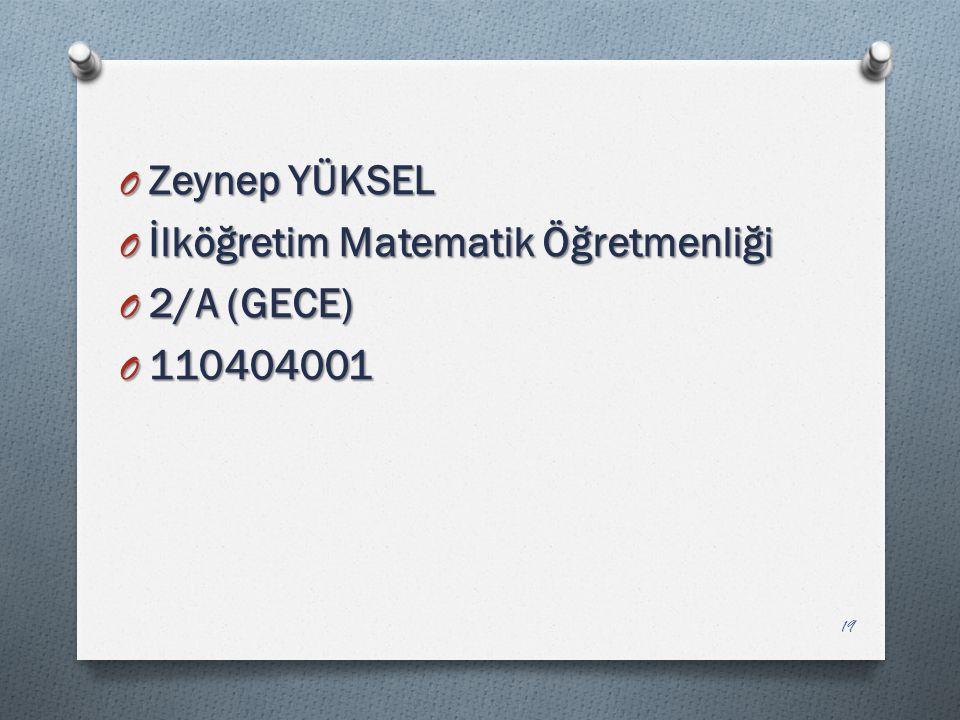 Zeynep YÜKSEL İlköğretim Matematik Öğretmenliği 2/A (GECE) 110404001