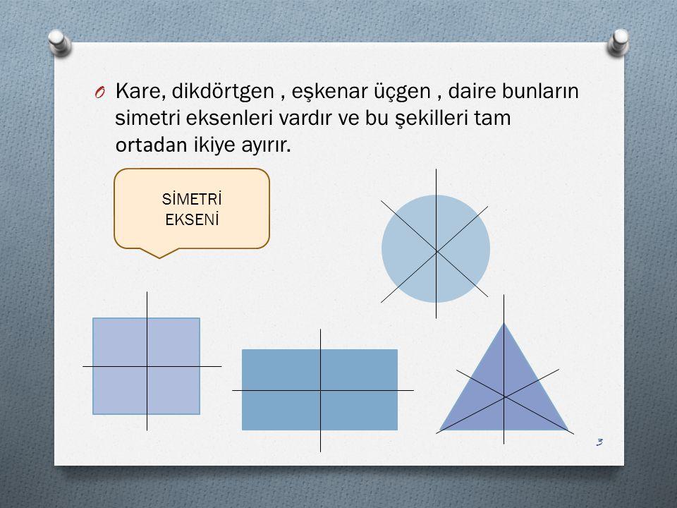 Kare, dikdörtgen , eşkenar üçgen , daire bunların simetri eksenleri vardır ve bu şekilleri tam ortadan ikiye ayırır.