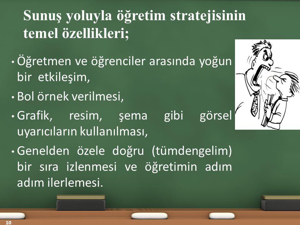 Sunuş yoluyla öğretim stratejisinin temel özellikleri;