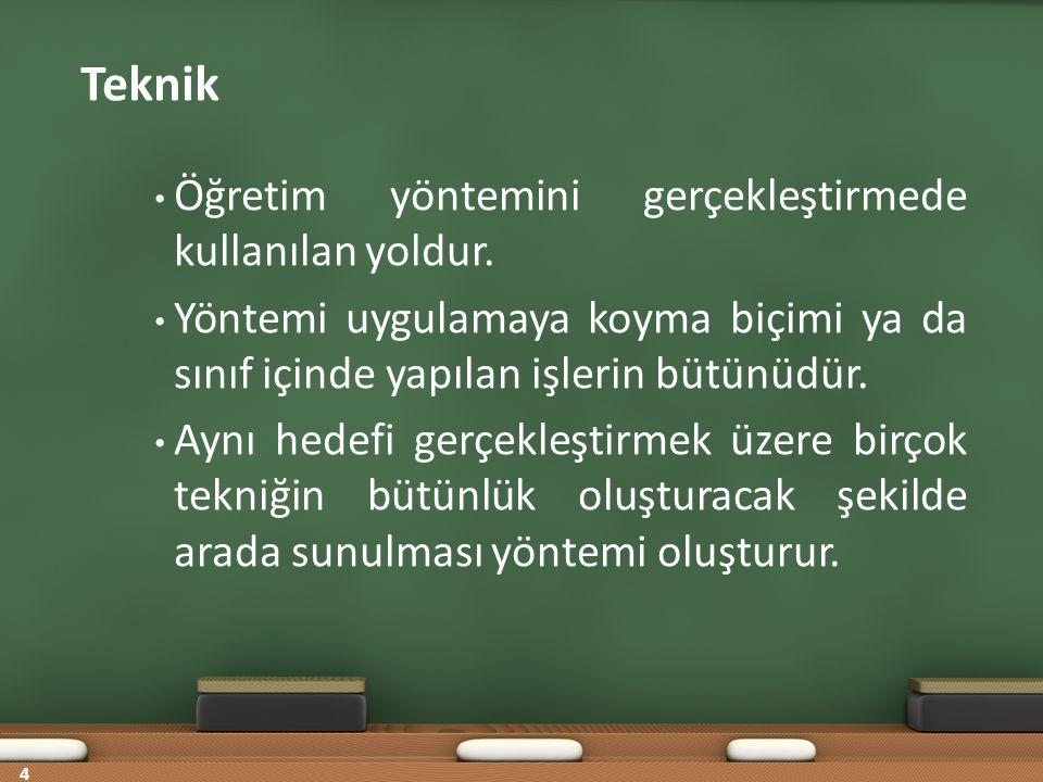Teknik Öğretim yöntemini gerçekleştirmede kullanılan yoldur.
