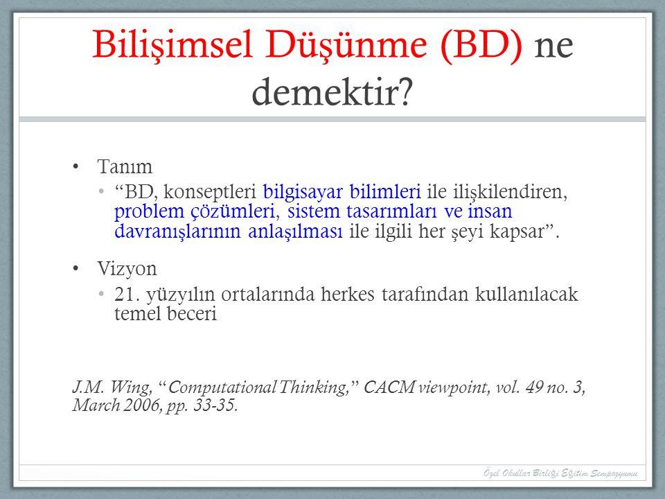 Bilişimsel Düşünme (BD) ne demektir