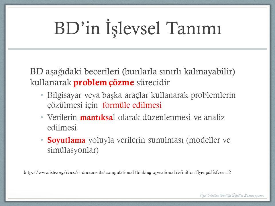 BD'in İşlevsel Tanımı BD aşağıdaki becerileri (bunlarla sınırlı kalmayabilir) kullanarak problem çözme sürecidir.