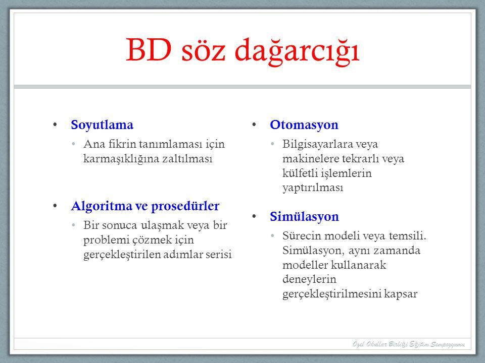 BD söz dağarcığı Soyutlama Algoritma ve prosedürler Otomasyon