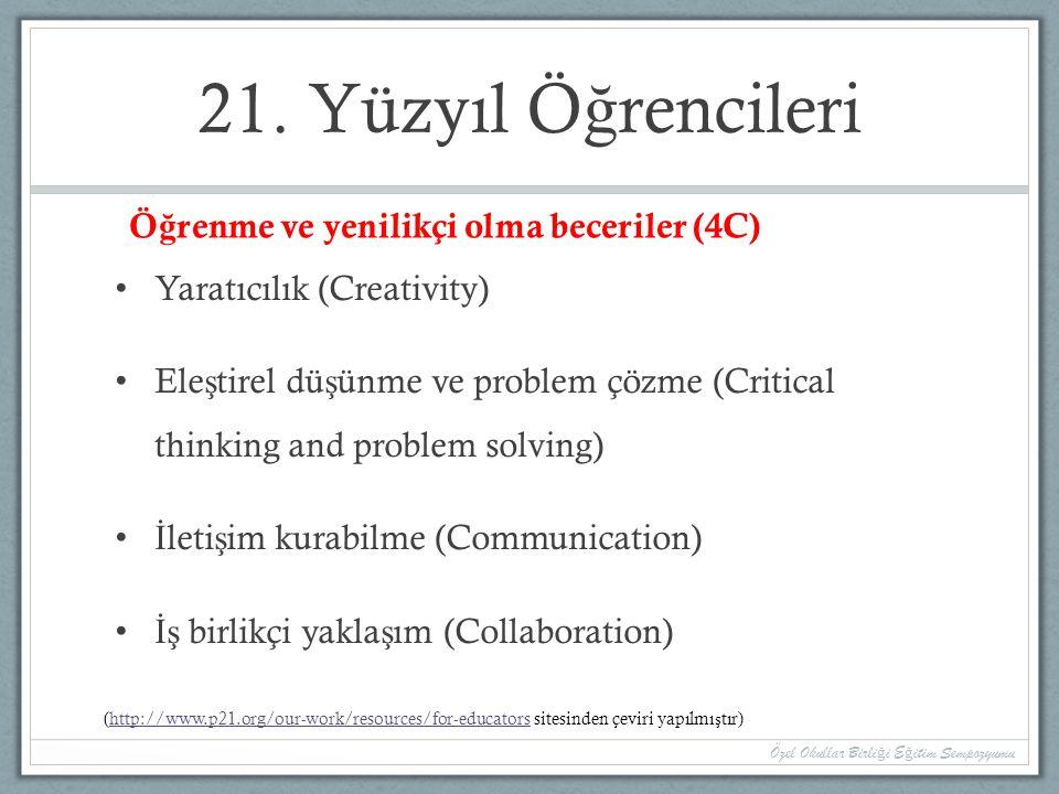 21. Yüzyıl Öğrencileri Öğrenme ve yenilikçi olma beceriler (4C)