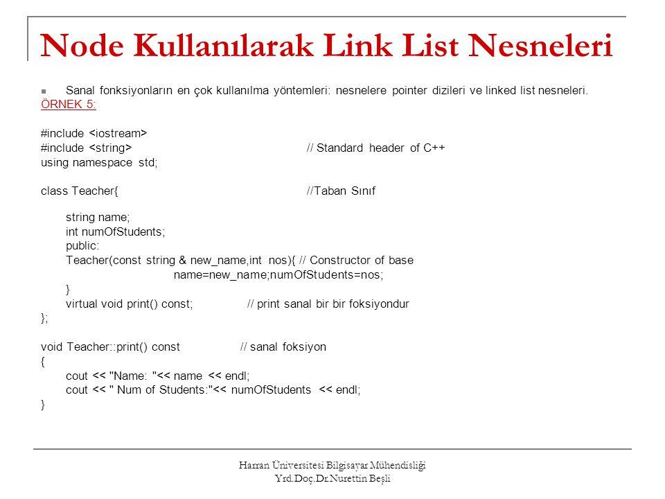 Node Kullanılarak Link List Nesneleri