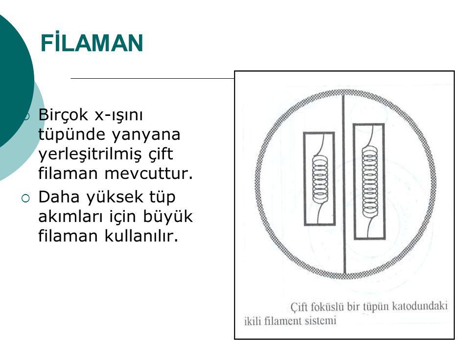 FİLAMAN Birçok x-ışını tüpünde yanyana yerleşitrilmiş çift filaman mevcuttur.