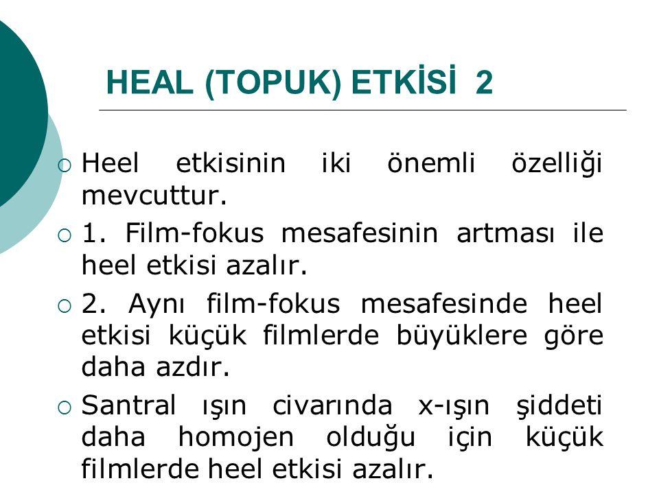 HEAL (TOPUK) ETKİSİ 2 Heel etkisinin iki önemli özelliği mevcuttur.