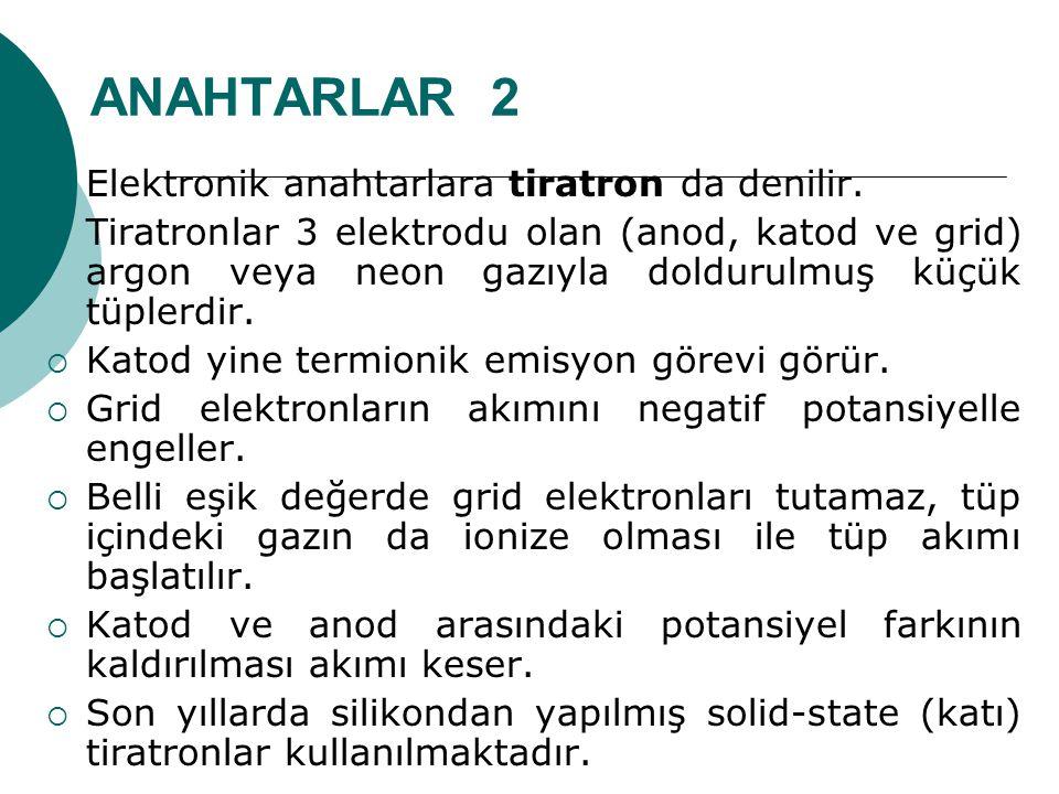 ANAHTARLAR 2 Elektronik anahtarlara tiratron da denilir.