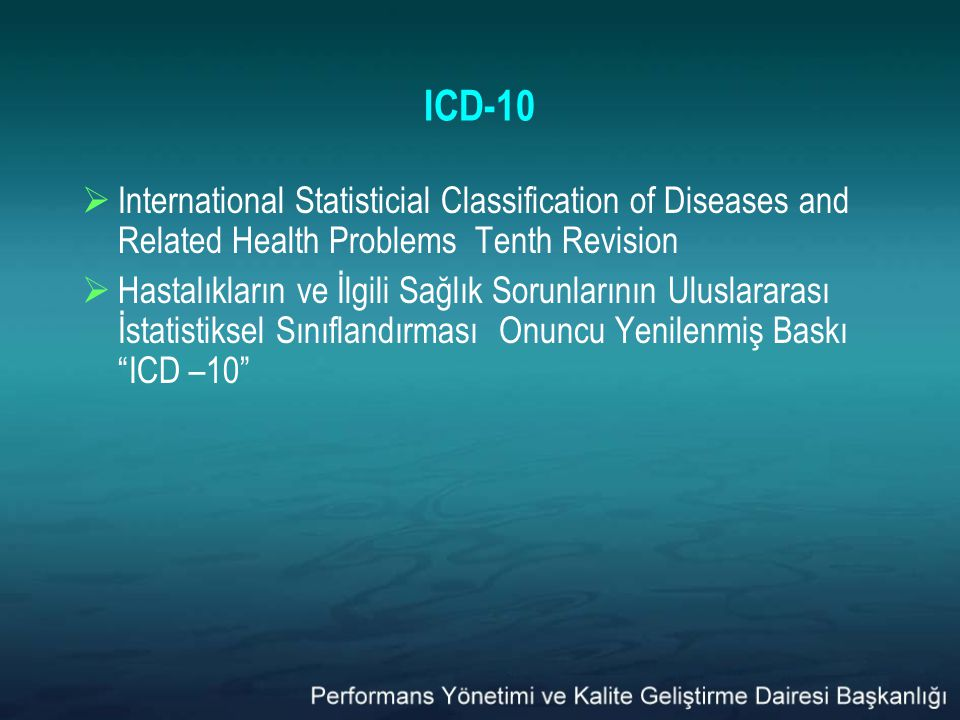 ICD-10 International Statisticial Classification of Diseases and Related Health Problems Tenth Revision.