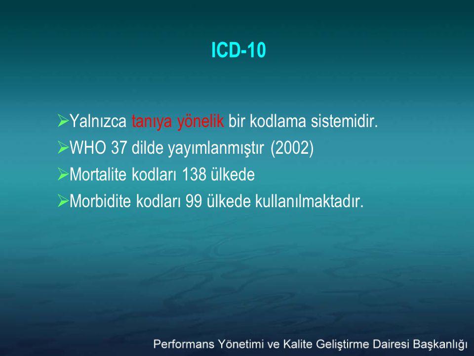 ICD-10 Yalnızca tanıya yönelik bir kodlama sistemidir.