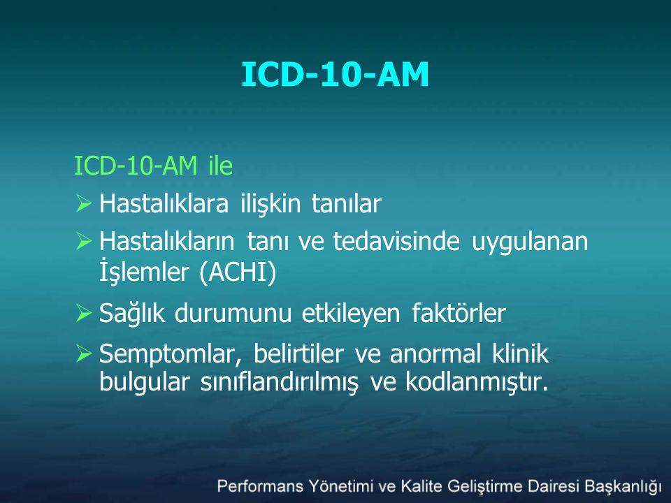 ICD-10-AM ICD-10-AM ile Hastalıklara ilişkin tanılar