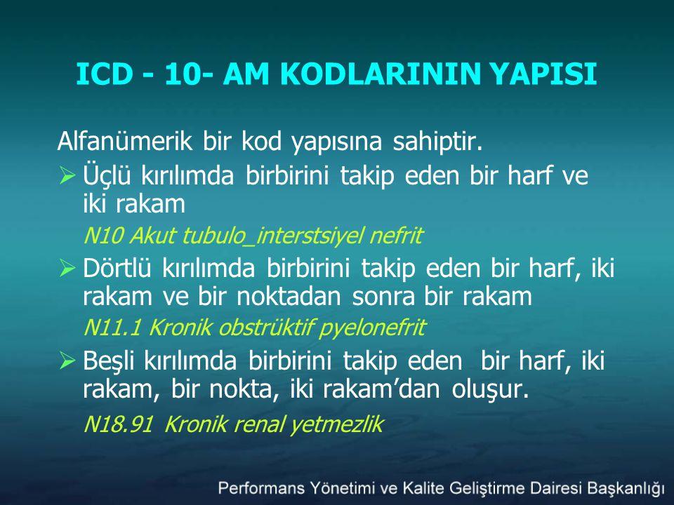 ICD - 10- AM KODLARININ YAPISI